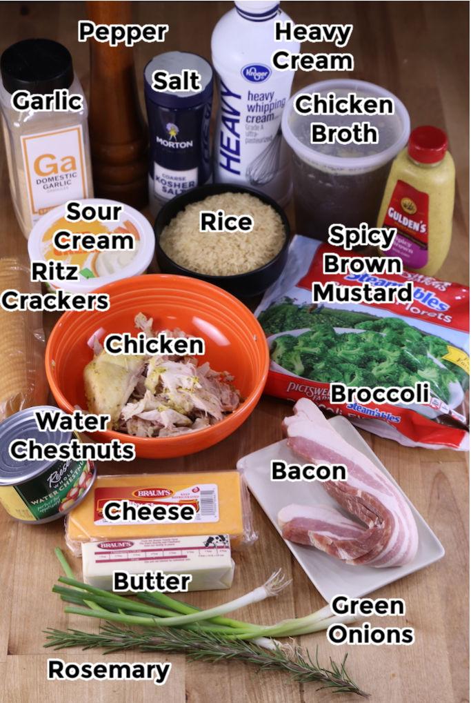 Ingredients for chicken broccoli rice casserole