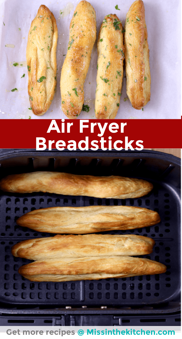 collage - air fryer breadsticks, baked and in basket
