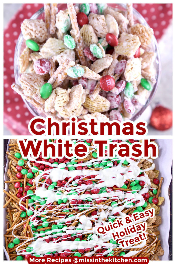 Collage of white trash snack mix