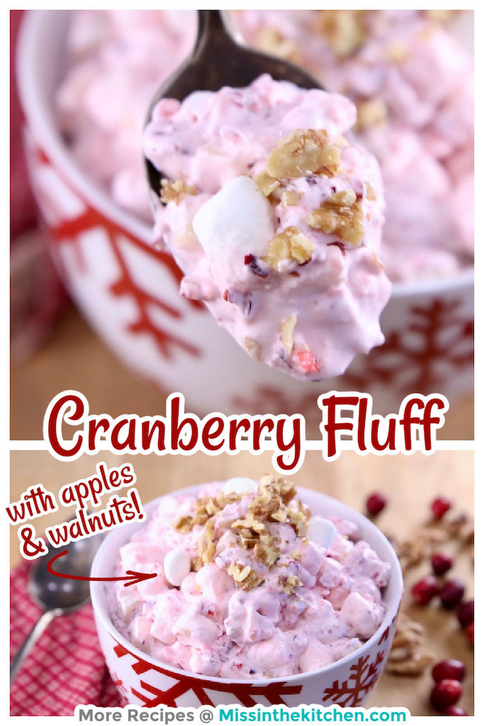 Cranberry Fluff collage - closeup of spoon an bowl full - text overlay