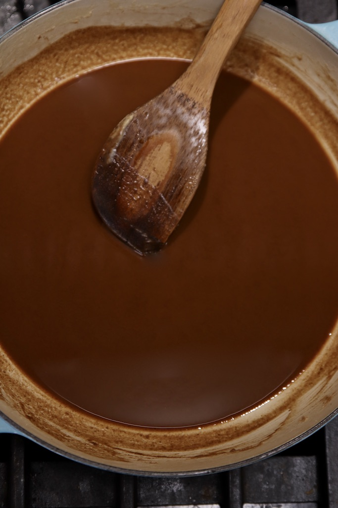Dark brown roux for soup