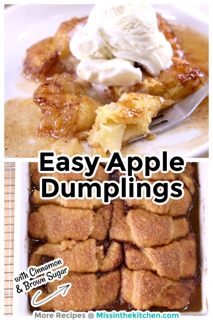 Easy Apple Dumplings collage served with vanilla ice cream / pan of dumplings