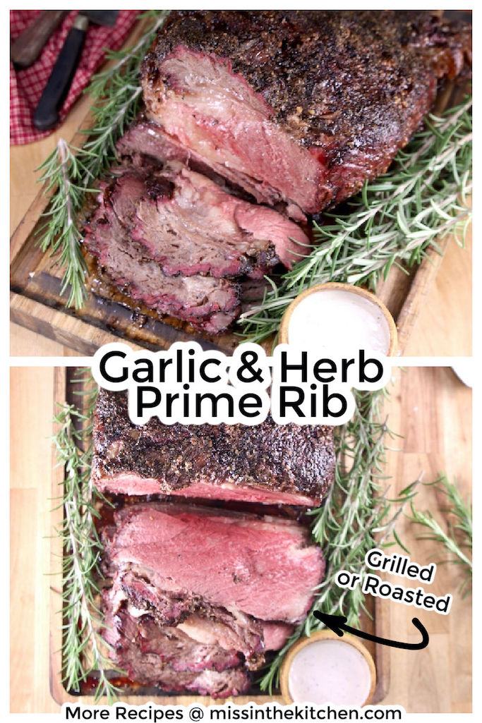 Garlic and Herb Prime Rib collage, sliced roast from 2 angles