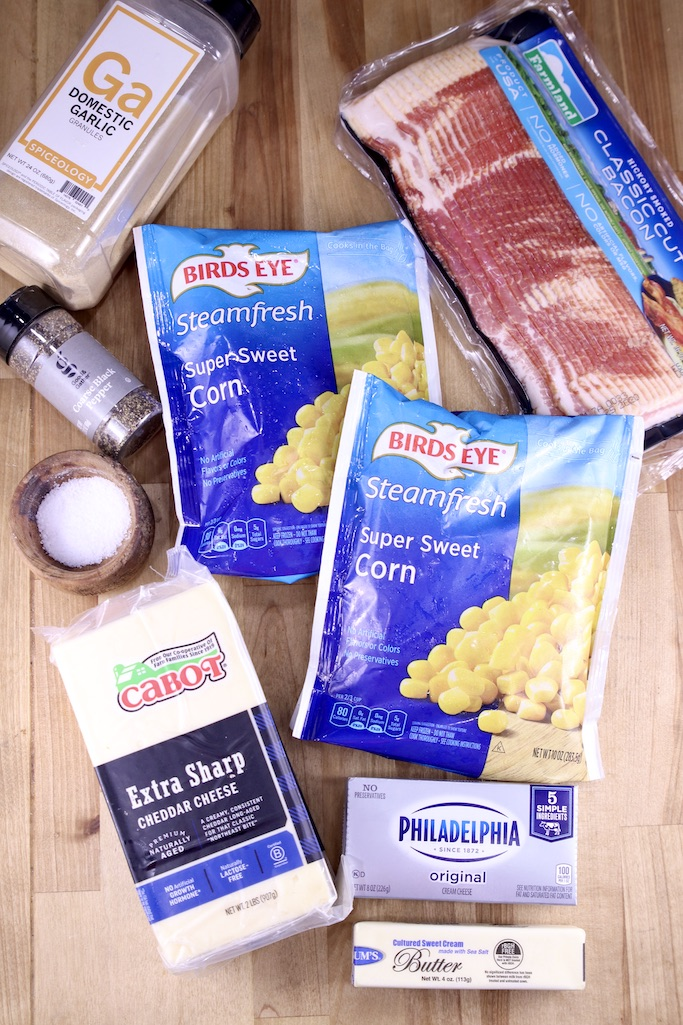 Ingredients for Bacon White Cheddar Corn