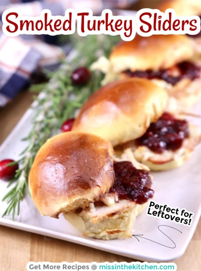 Smoked Turkey Sliders on a platter - text overlay