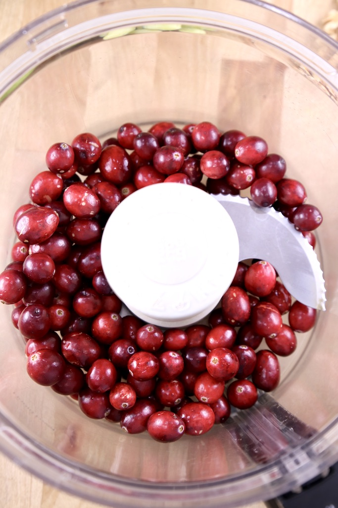 overhead view cranberries in a food processor bowl
