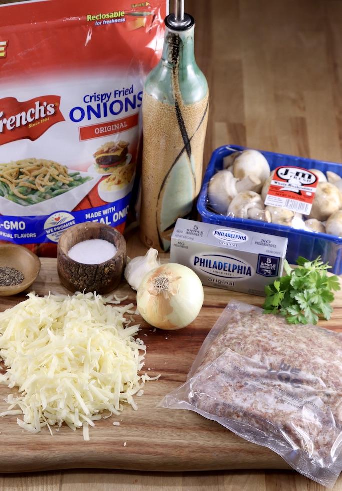 Ingredients for Sausage Stuffed Mushrooms