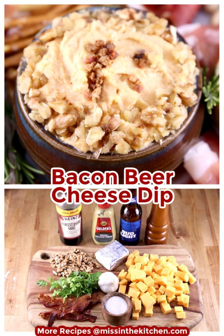 Bacon Beer Cheese Dip Collage bowlful over ingredients shot