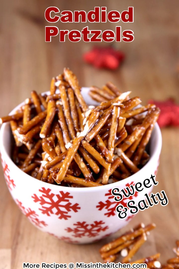 Candied Pretzels in a snowflake bowl