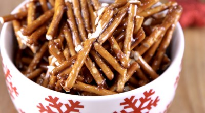 Snowflake bowl filled with candied pretzel sticks
