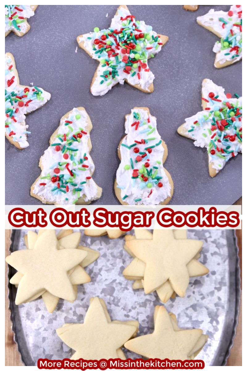 Decorated Sugar Cookies Collage - decorated and plain on a tray
