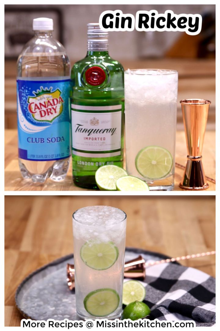 Collage of gin Rickey cocktail, photo with ingredients and close up of drink garnished with lime slices