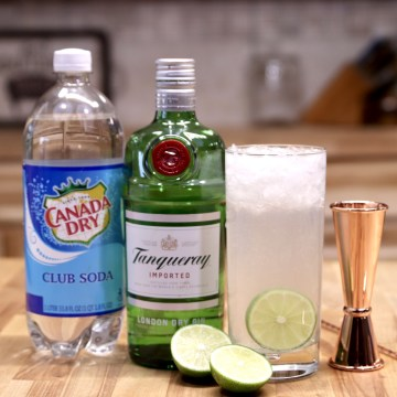 Gin Rickey Cocktails with club soda and Tanqueray Gin