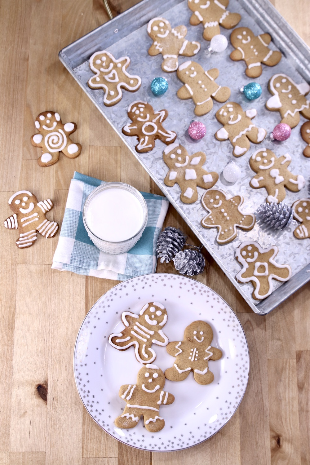Gingerbread Cookies on a plate and a tray - overhead view