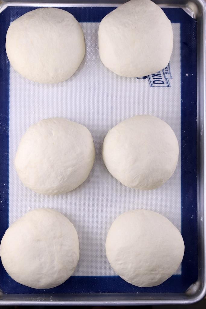 Bread Bowl Dough ready to bake on a baking sheet