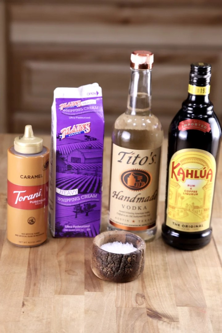Ingredients for Salted Caramel White Russian Cocktail