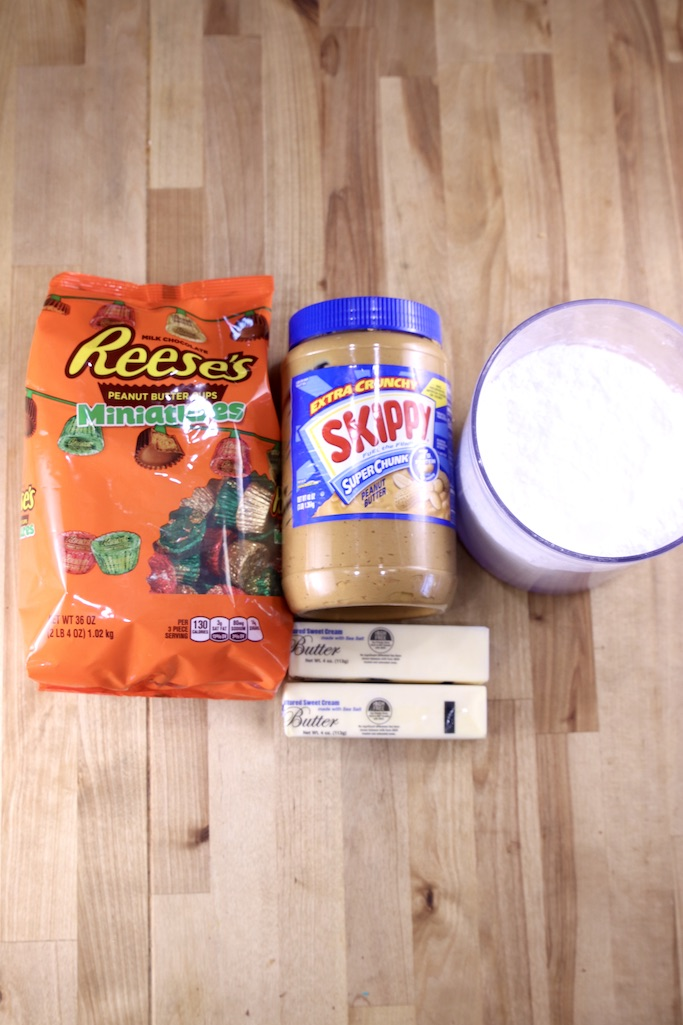 Ingredients for Fudge: Reese's Mini Peanut Butter Cups, Peanut Butter, Powdered Sugar, Butter