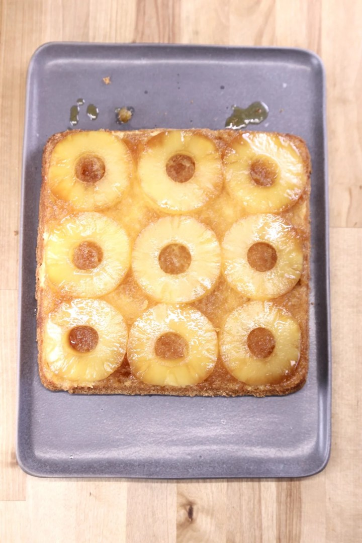 gray platter with baked pineapple upside down cake