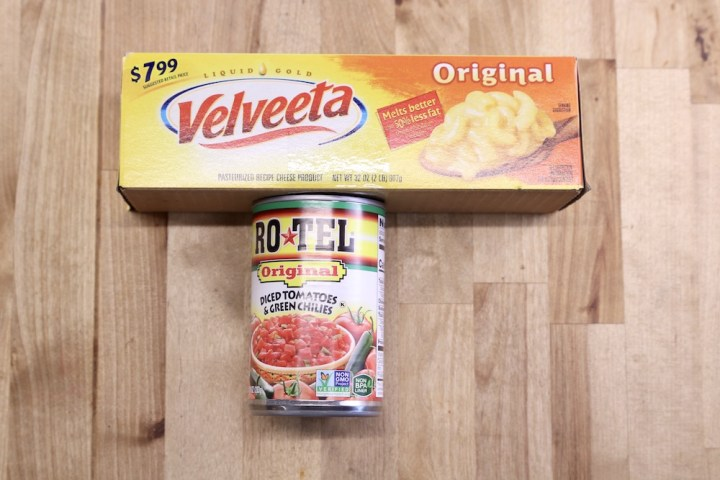 Velveeta Cheese and can of RoTel Tomatoes