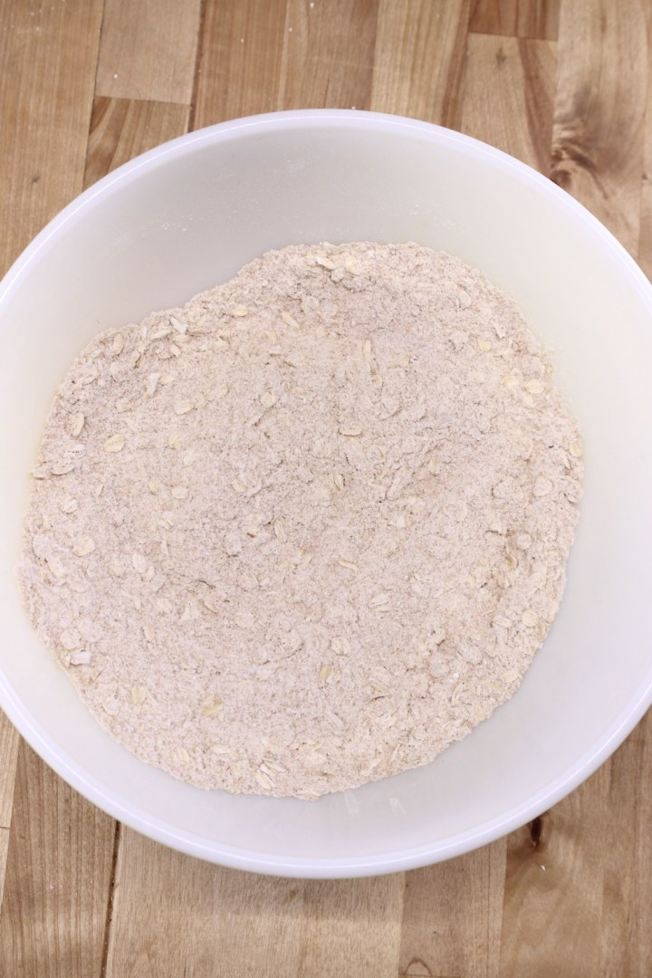 bowl of dry ingredients for Irish Brown Bread