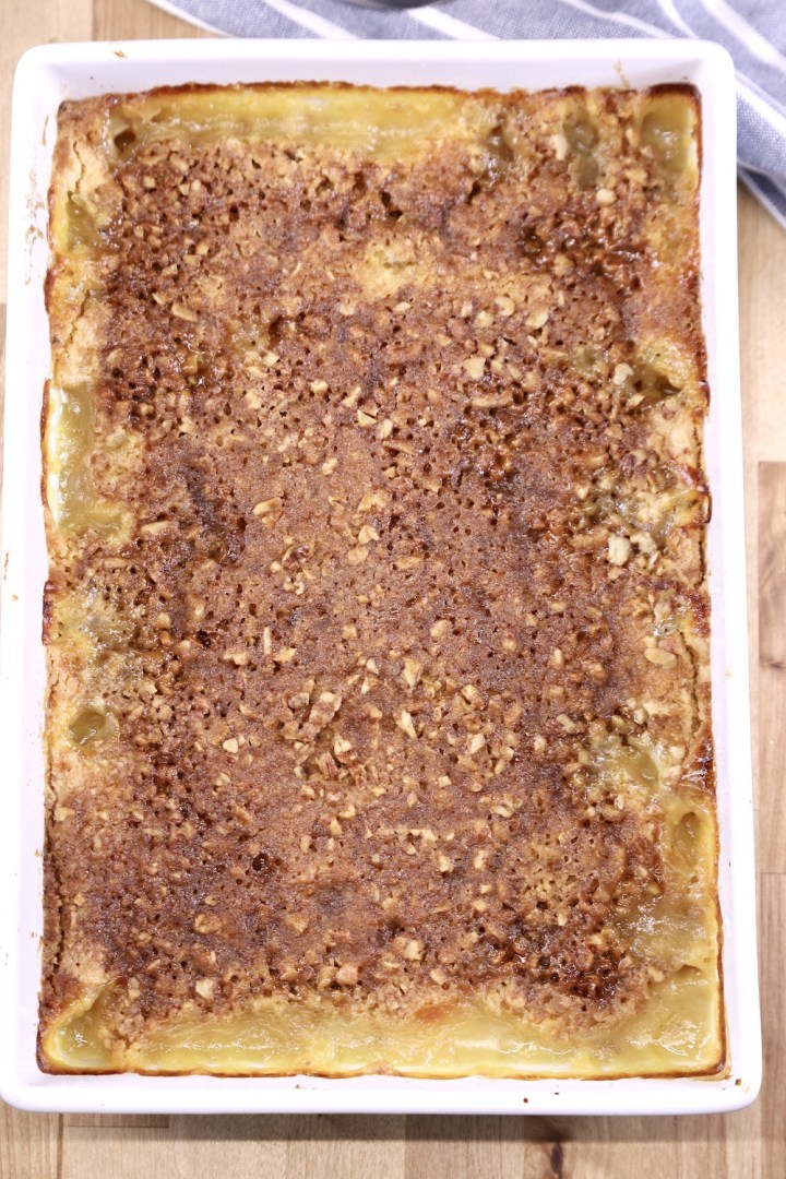 Baked pineapple dump cake with pecans and brown sugar