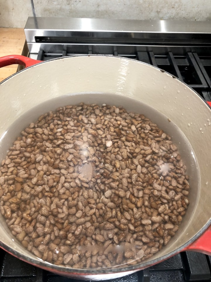 Pinto beans covered with water in a dutch oven on the stove top