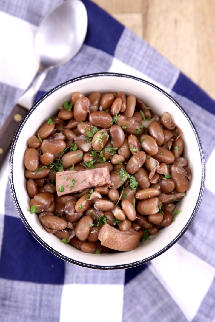 bowl of pinto beans and ham