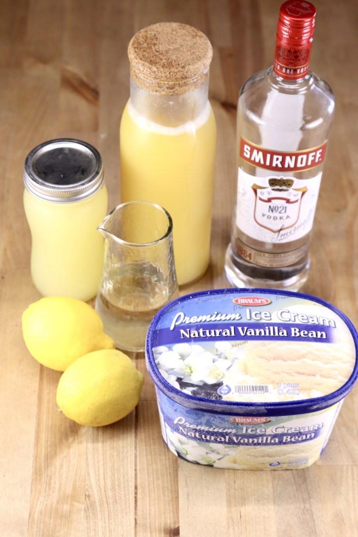 Ingredients for frosted vodka pineapple lemonade