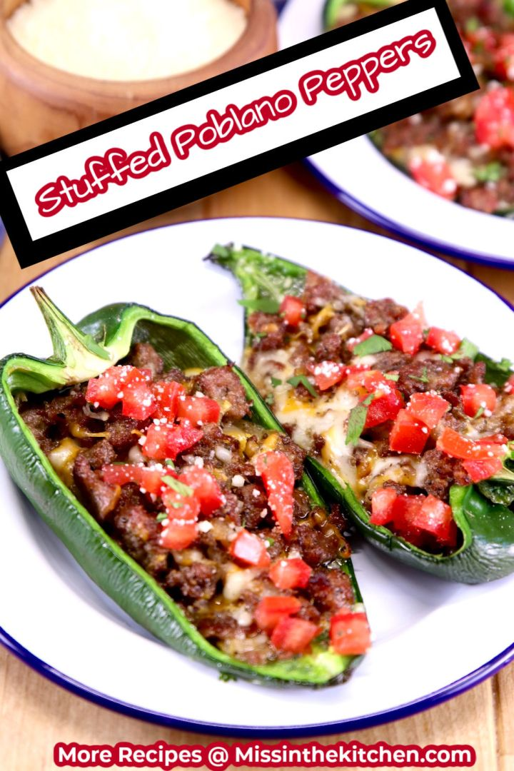 Stuffed Poblano Peppers plated with text overlay