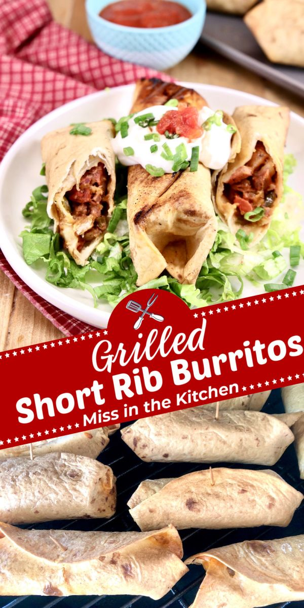 Grilled Short Rib Burritos collage - on a plate and on the grill