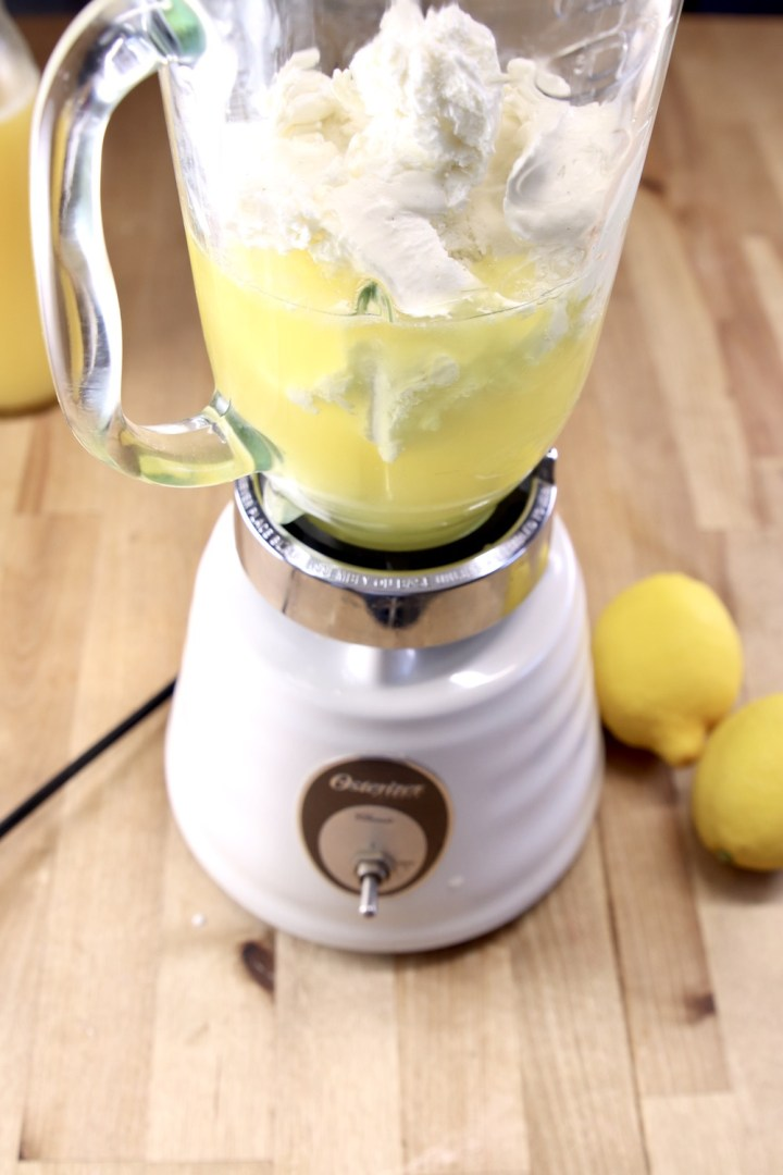 blender with lemon -pineapple and ice cream