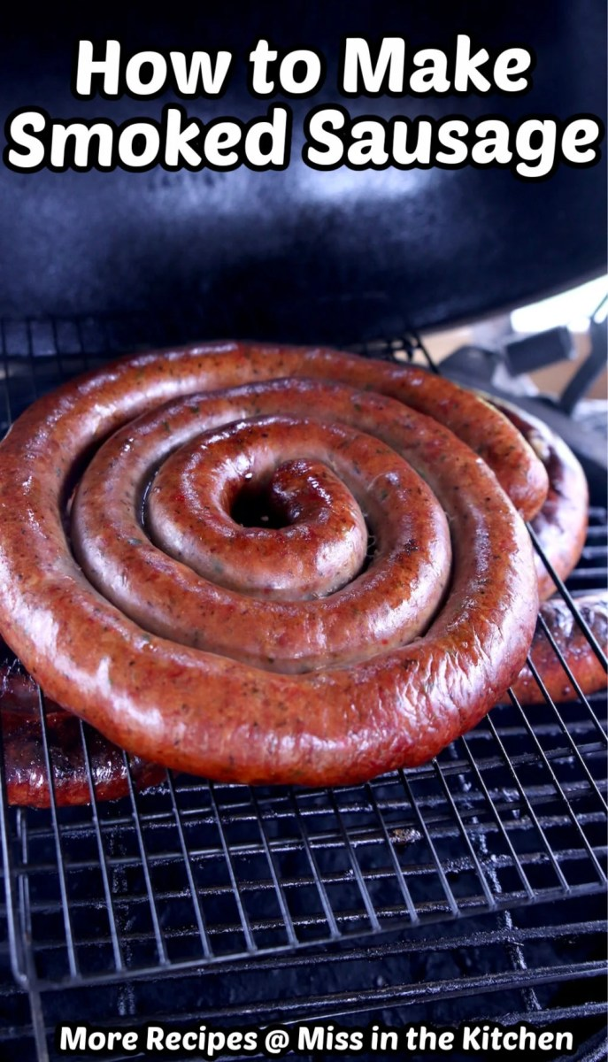 smoked sausage coil on the grill