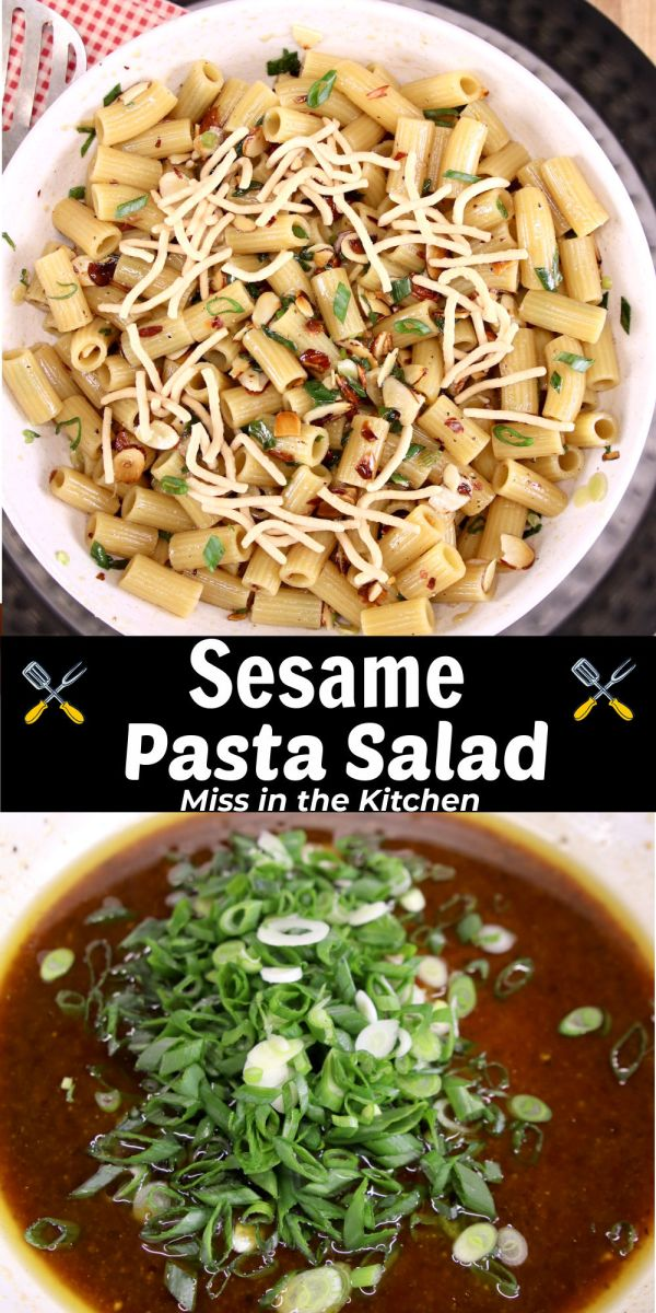 collage of sesame pasta salad - serving bowl over dressing with green onions