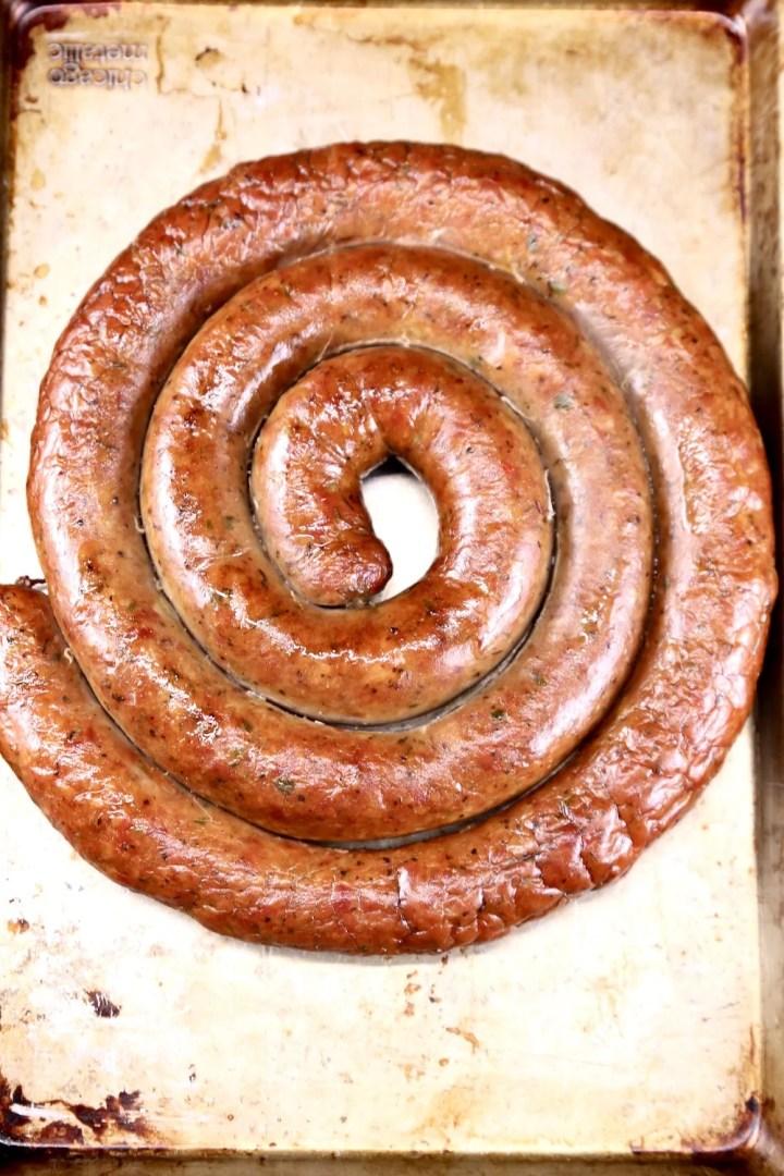 smoked sausage on a sheet pan