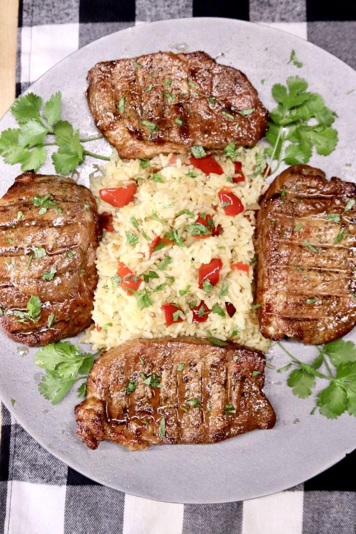 platter with 4 pork chops & rice pilaf