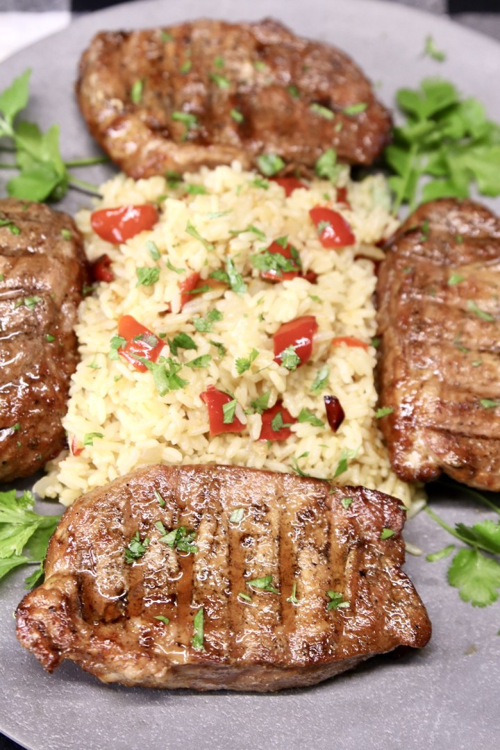 grilled pork chops with rice