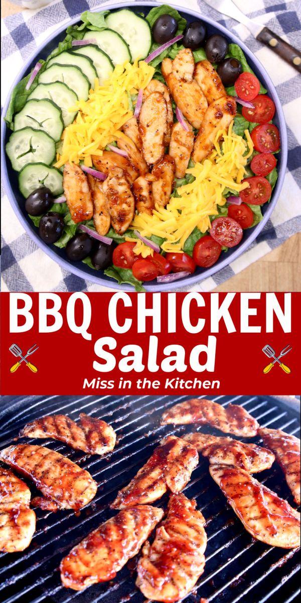 BBQ Chicken Salad Collage - prepared salad/ bbq chicken tenders on grill