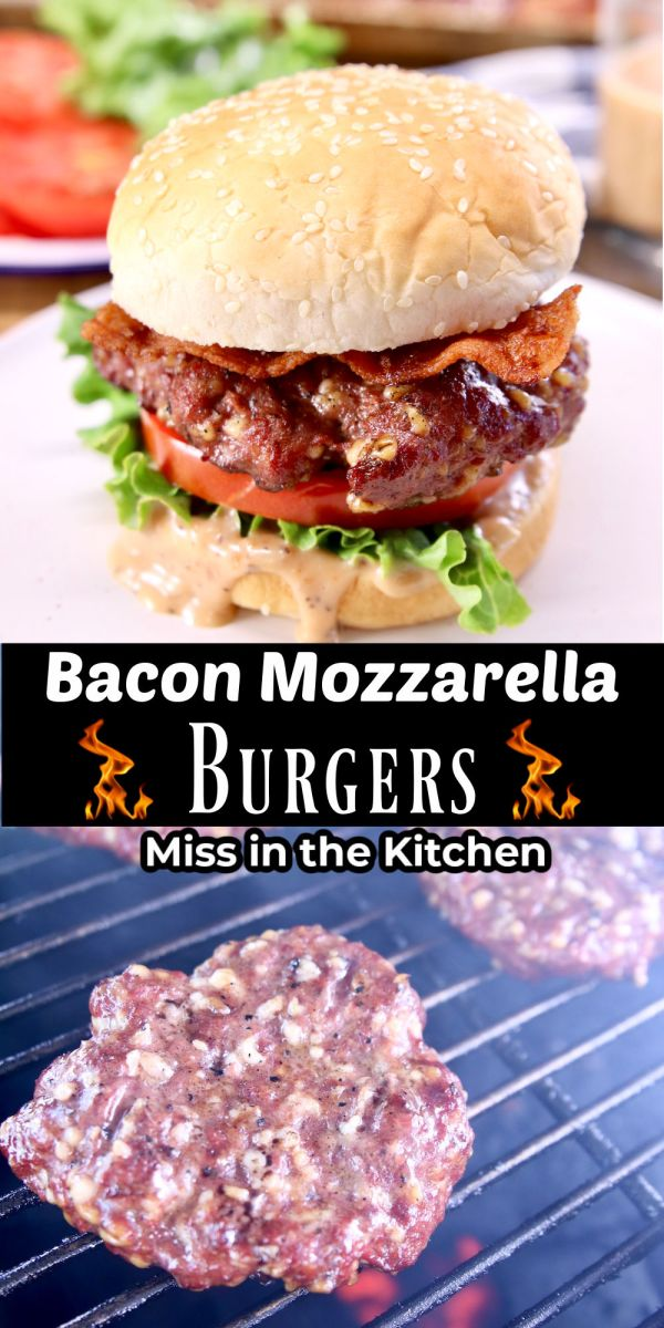 collage of grilled burgers - on a bun and cooking on grill - text overlay