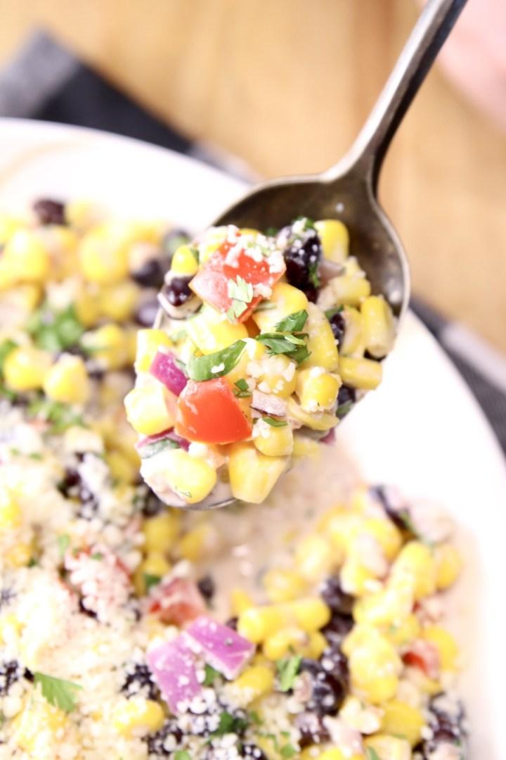 Black Bean and Corn Salad spoonful - closeup