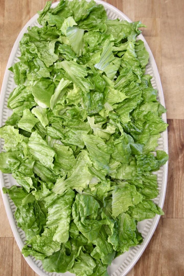 oval platter of lettuce