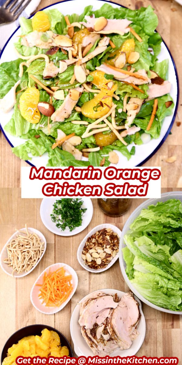 Mandarin Chicken Salad collage - plated over ingredients