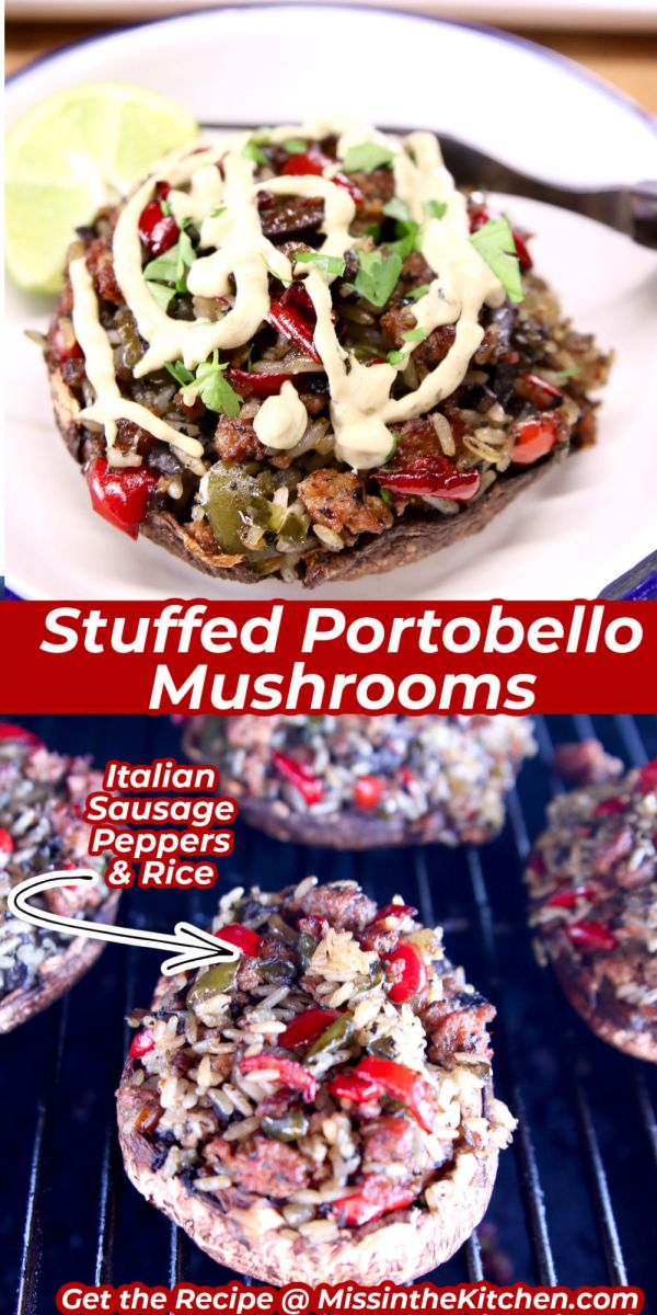 stuffed mushrooms collage - served on a plate with sauce/ on a grill - text overlay