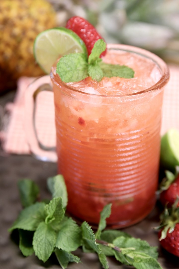 Strawberry Pineapple Mojito Cocktail in a glass