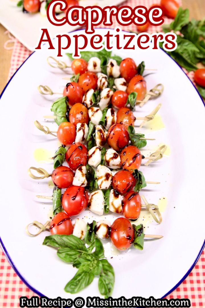 Platter of caprese appetizers with text overlay