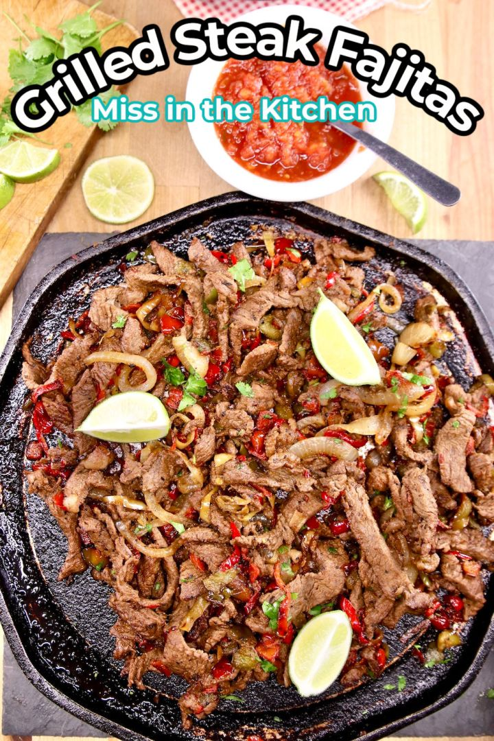 Grilled Steak Fajitas on a griddle - text overlay