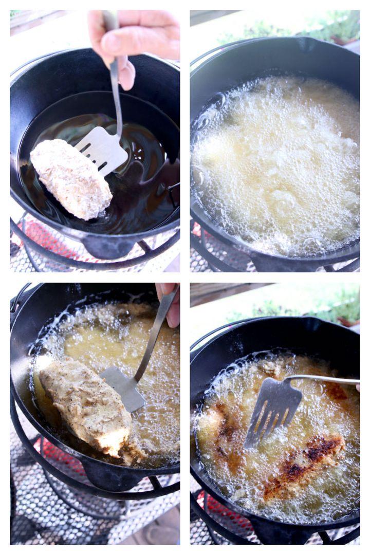 deep frying pork chops in a dutch oven