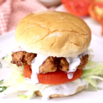 Chicken Sandwich with lettuce, tomato, ranch dressing