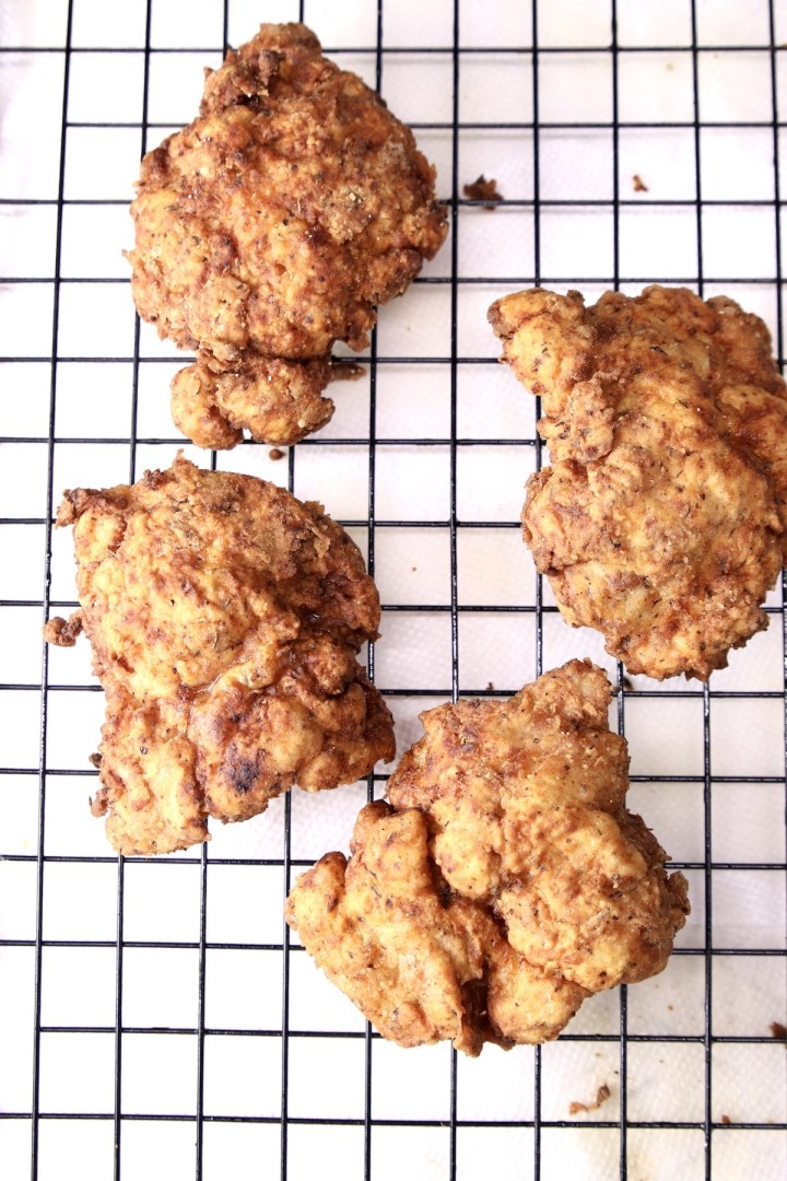 fried chicken on a wire rack