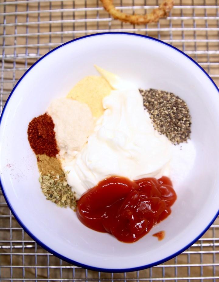 bowl with mayonnaise, ketchup, horseradish and spices