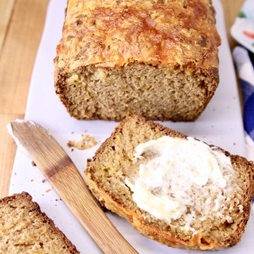 beer bread, one slice with butter